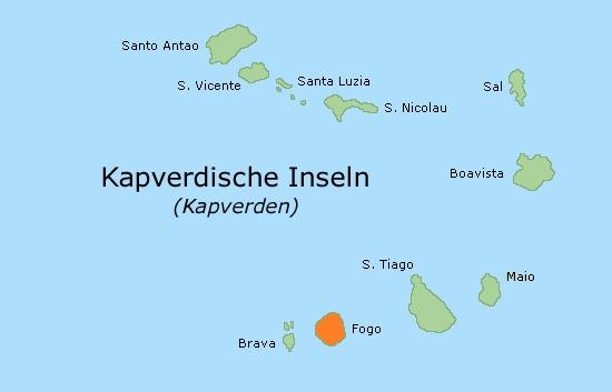 Lage der Insel FOGO auf Kap Verde
