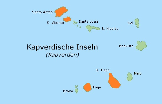 Karte Kapverden Trekkingreise Funaná mit VIP Tours Cabo Verde