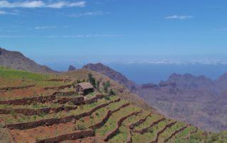 Terrassenfelder auf Santo Antão, Kapverdische Inseln