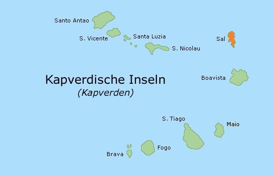 Lage der Insel Sal auf den Kapverden