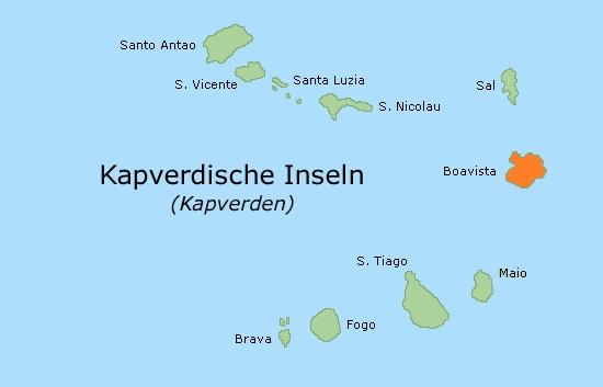 Lage der Insel Boa Vista, Kap Verde