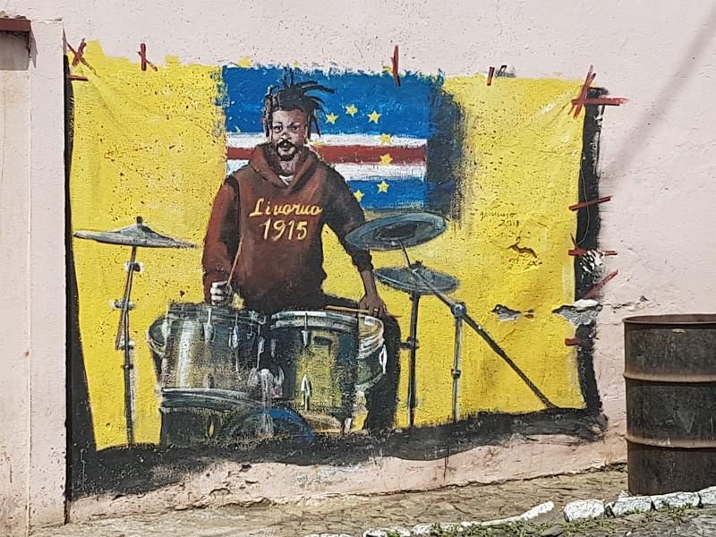 Wandmalerei in Sao Filipe auf Fogo
