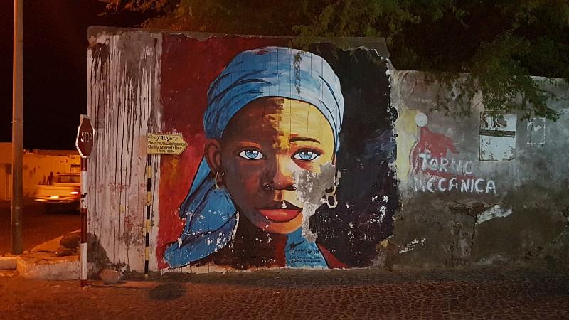 Kreolin, Wandmalerei auf Santo Antao